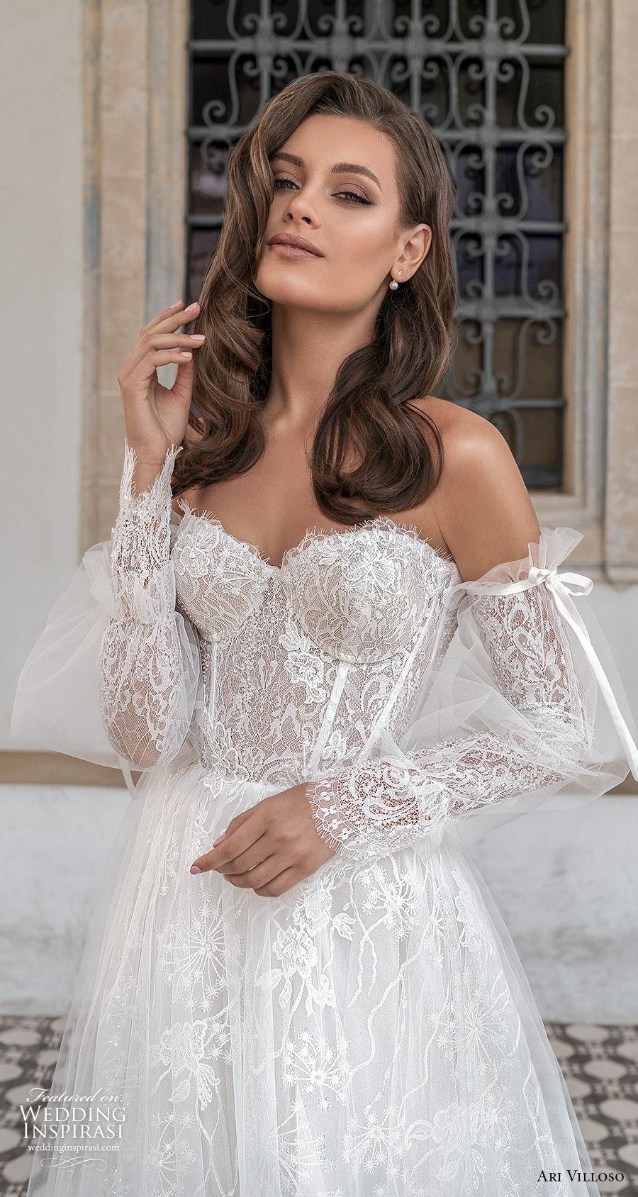 ari villoso 2021 bridal off the shoulder long poet sleeves sweetheart neckline full embellishment romantic a  line wedding dress mid back medium train (5) zv