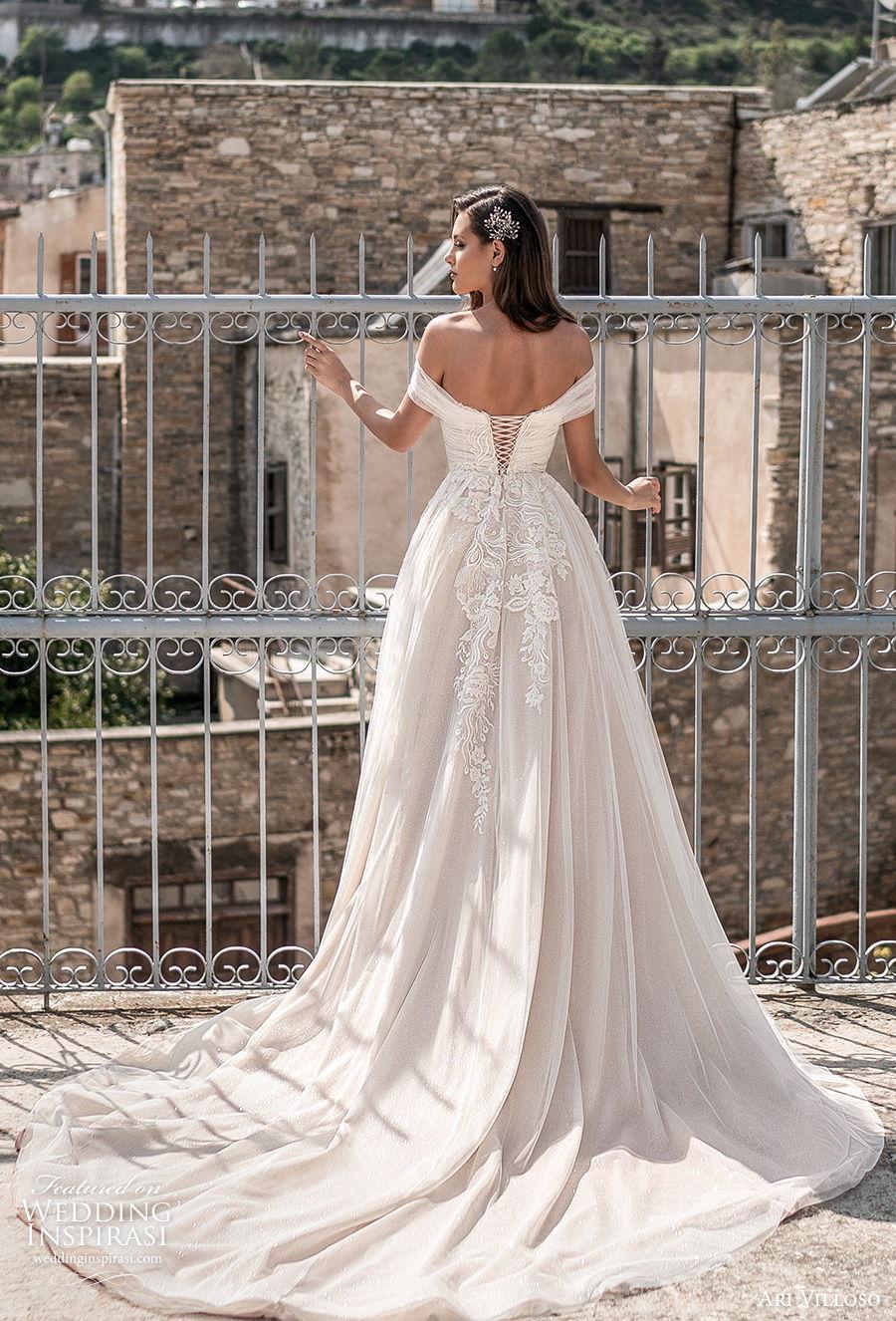 ari villoso 2021 bridal off the shoulder straight across neckline ruched bodice romantic a  line wedding dress corset back chapel train (15) bv