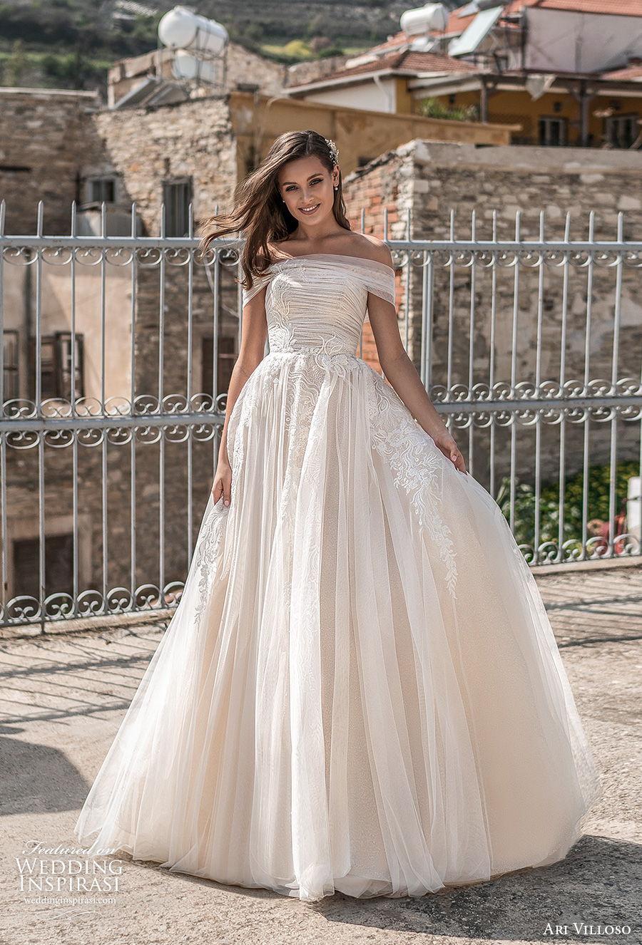 ari villoso 2021 bridal off the shoulder straight across neckline ruched bodice romantic a  line wedding dress corset back chapel train (15) mv