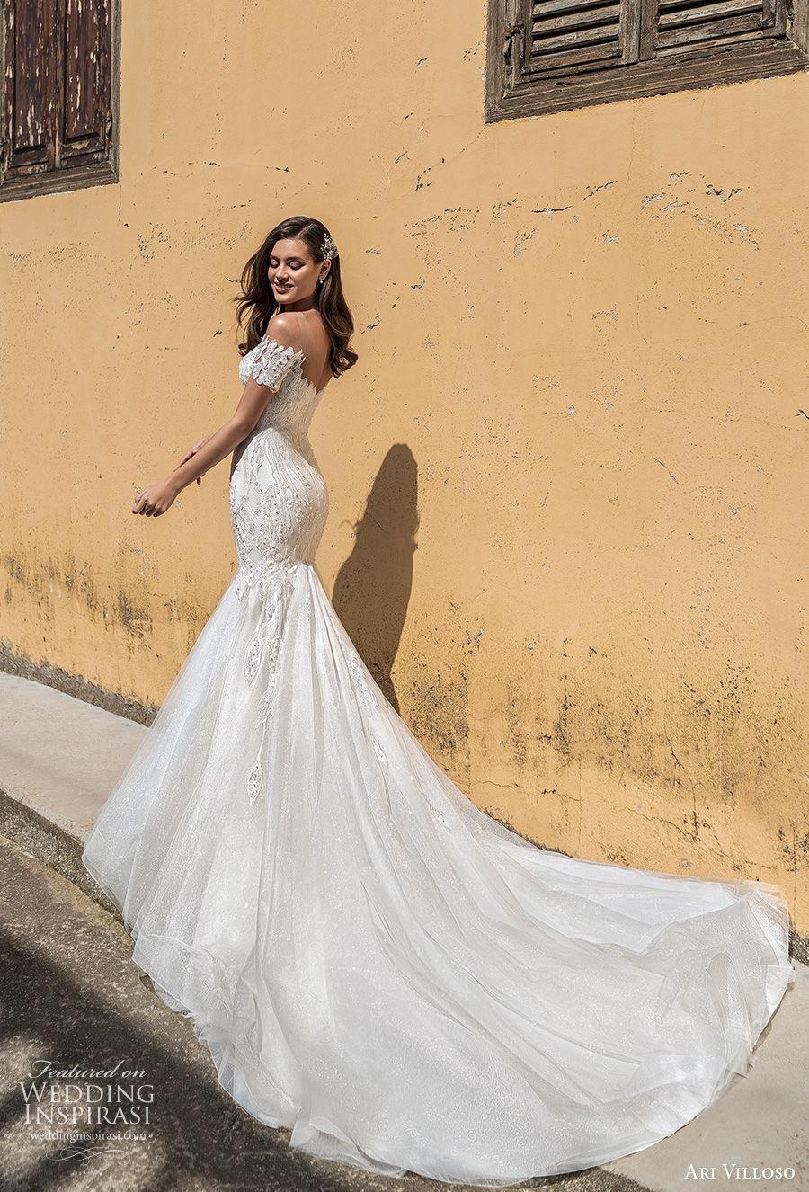 ari villoso 2021 bridal off the shoulder sweetheart neckline deep sweetheart necklne heavily embellished bodice elegant mermaid wedding dress mid back chapel train (16) bv