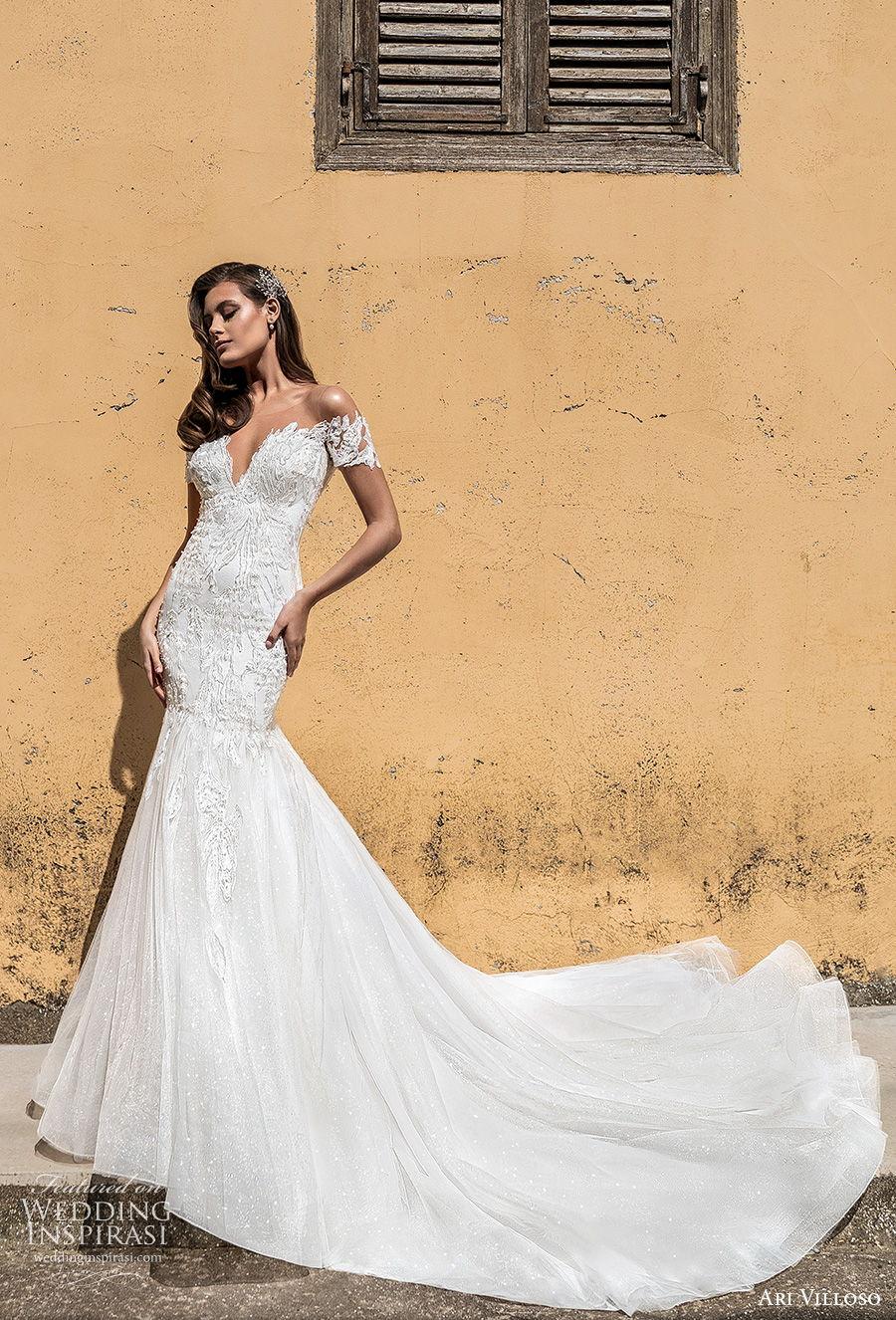 ari villoso 2021 bridal off the shoulder sweetheart neckline deep sweetheart necklne heavily embellished bodice elegant mermaid wedding dress mid back chapel train (16) mv
