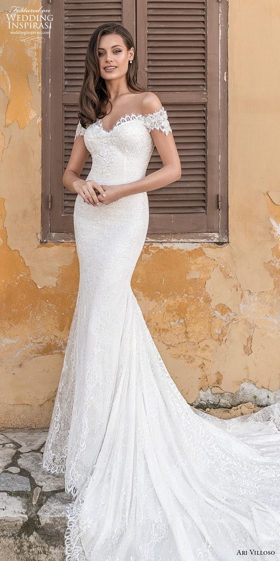 ari villoso 2021 bridal off the shoulder sweetheart neckline full embellishment elegant mermaid wedding dress sheer button v back chapel train (4) mv