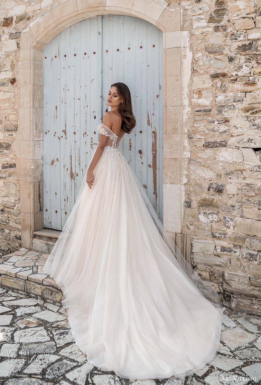 ari villoso 2021 bridal off the shoulder sweetheart neckline heavily embellished romantic a  line wedding dress corset back chapel train (6) bv