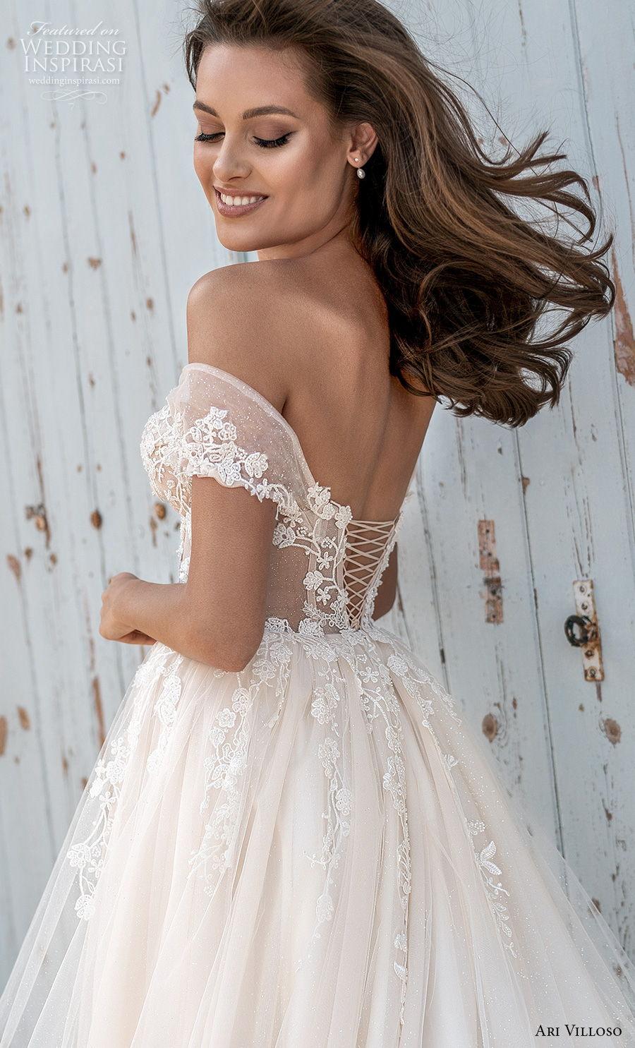 ari villoso 2021 bridal off the shoulder sweetheart neckline heavily embellished romantic a  line wedding dress corset back chapel train (6) zbv