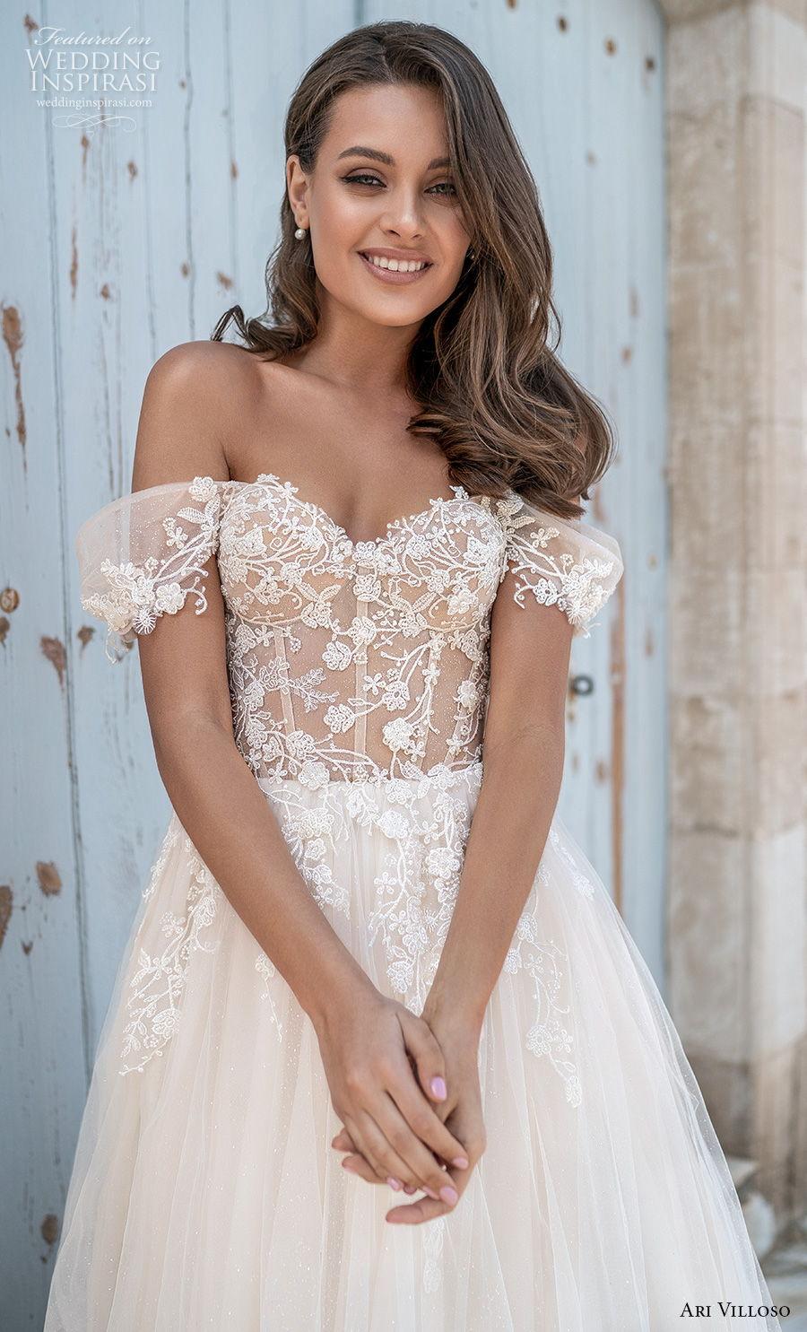 ari villoso 2021 bridal off the shoulder sweetheart neckline heavily embellished romantic a  line wedding dress corset back chapel train (6) zv