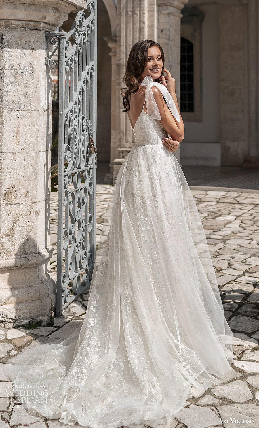 ari villoso 2021 bridal ribbon spaghetti strap diamond neckline full embellished bodice romantic a  line wedding dress v back medium train (12) bv