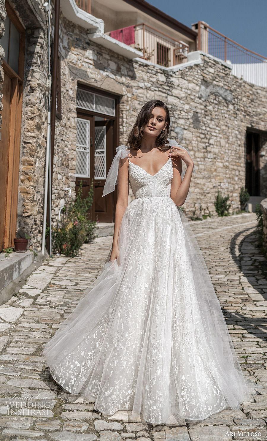 ari villoso 2021 bridal ribbon spaghetti strap diamond neckline full embellished bodice romantic a  line wedding dress v back medium train (12) mv
