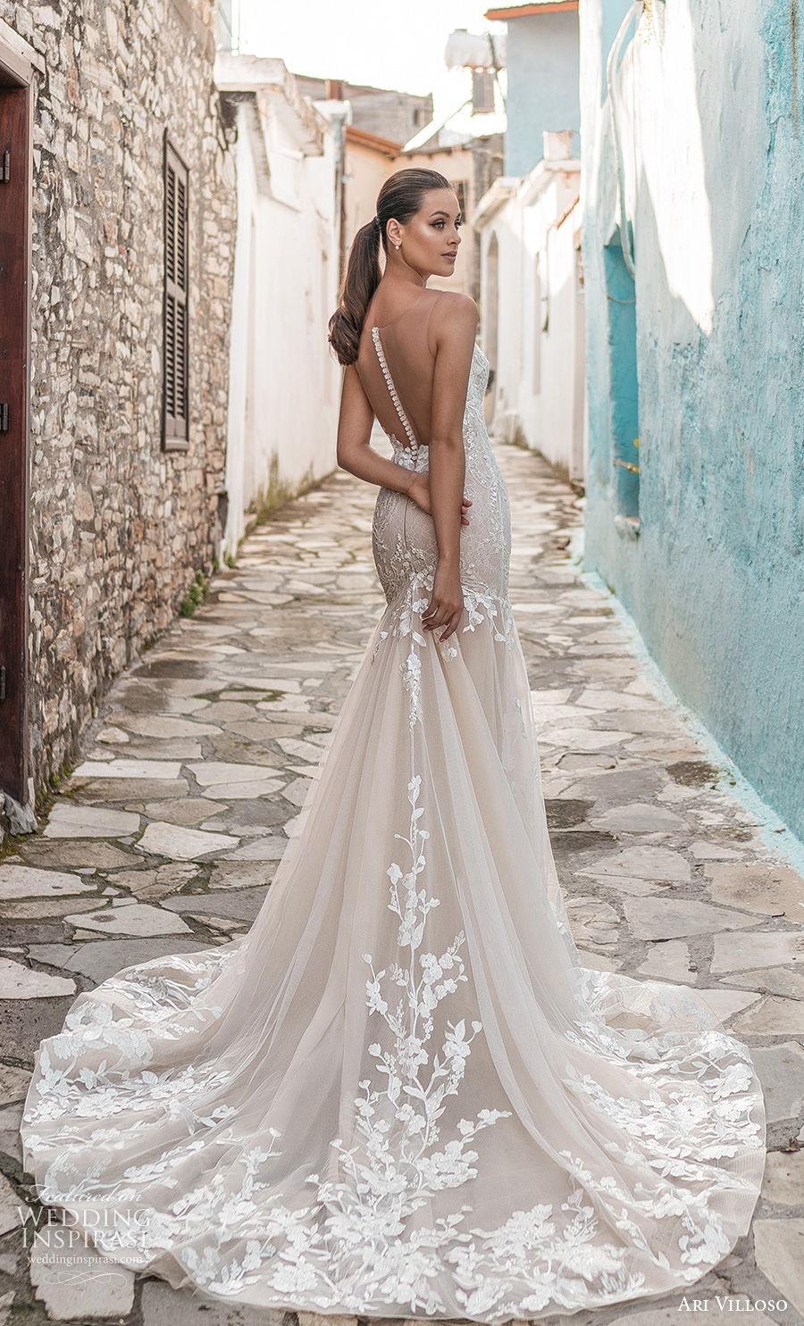 ari villoso 2021 bridal sleeveless spaghetti strap v neck heavily embellished bodice romantic mermaid wedding dress sheer button back medium train (8) bv