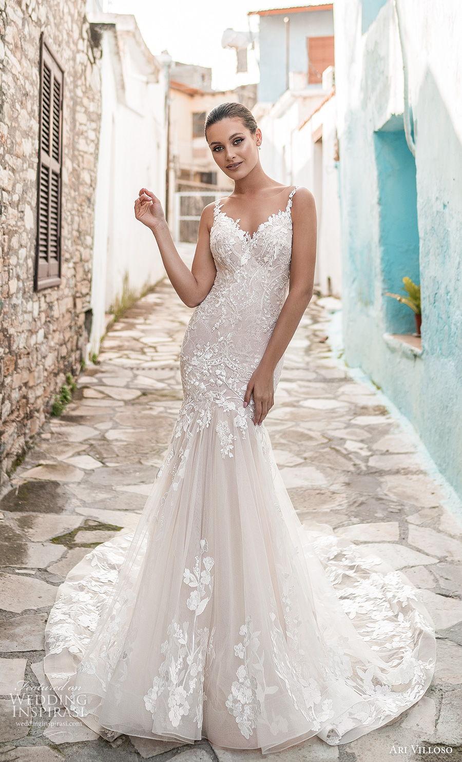 ari villoso 2021 bridal sleeveless spaghetti strap v neck heavily embellished bodice romantic mermaid wedding dress sheer button back medium train (8) mv