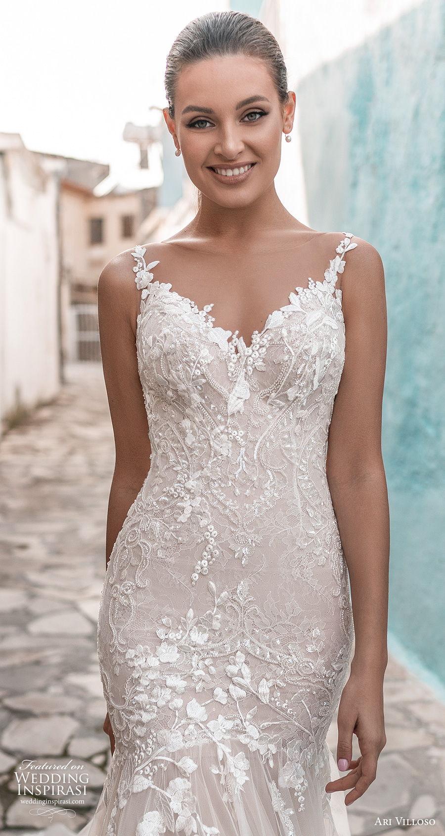 ari villoso 2021 bridal sleeveless spaghetti strap v neck heavily embellished bodice romantic mermaid wedding dress sheer button back medium train (8) zv