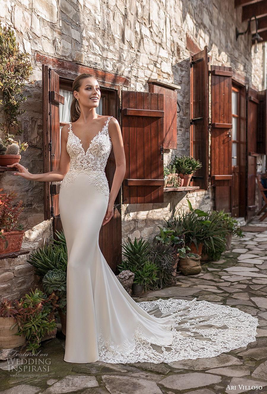 ari villoso 2021 bridal sleeveless thin strap v neckline heavily embellished bodice elegant fit and flare wedding dress v back chapel train (7) mv