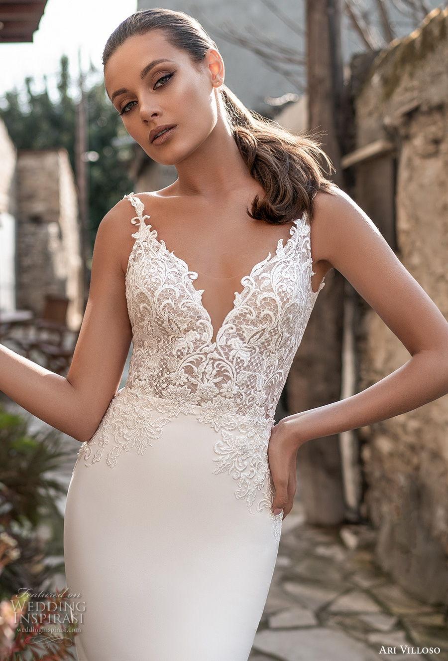ari villoso 2021 bridal sleeveless thin strap v neckline heavily embellished bodice elegant fit and flare wedding dress v back chapel train (7) zv