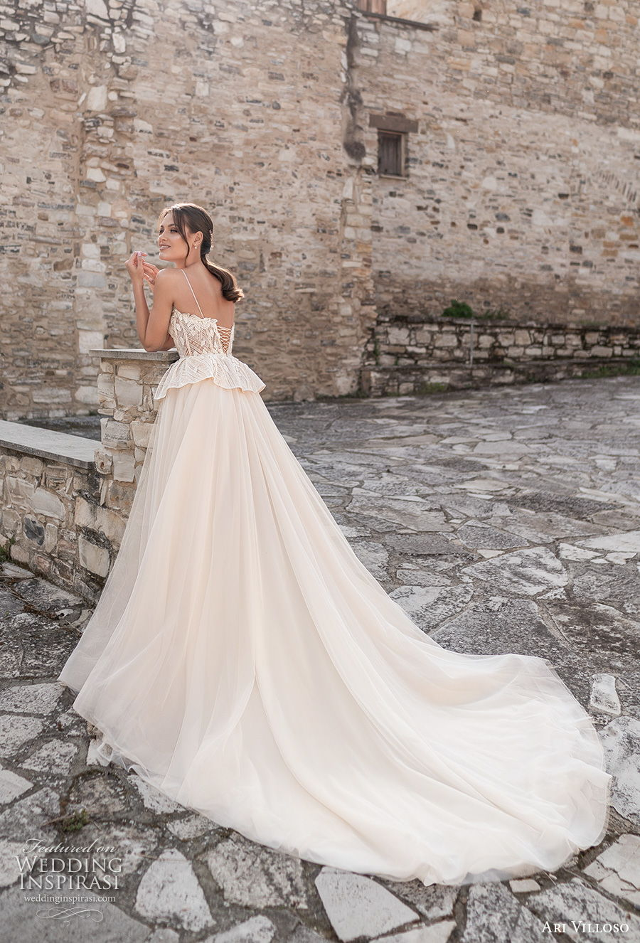 ari villoso 2021 bridal spaghetti strap sweetheart neckline heavily embellished bodice bustier romantic champagne peplum a  line wedding dress corset back chapel train (2) bv