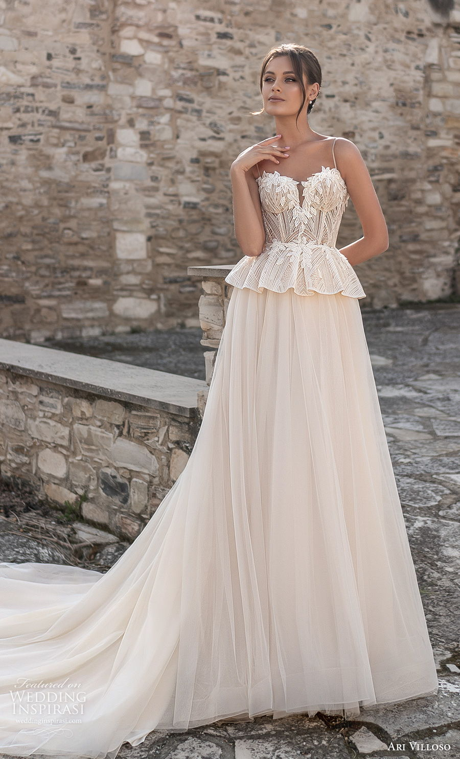 ari villoso 2021 bridal spaghetti strap sweetheart neckline heavily embellished bodice bustier romantic champagne peplum a  line wedding dress corset back chapel train (2) mv