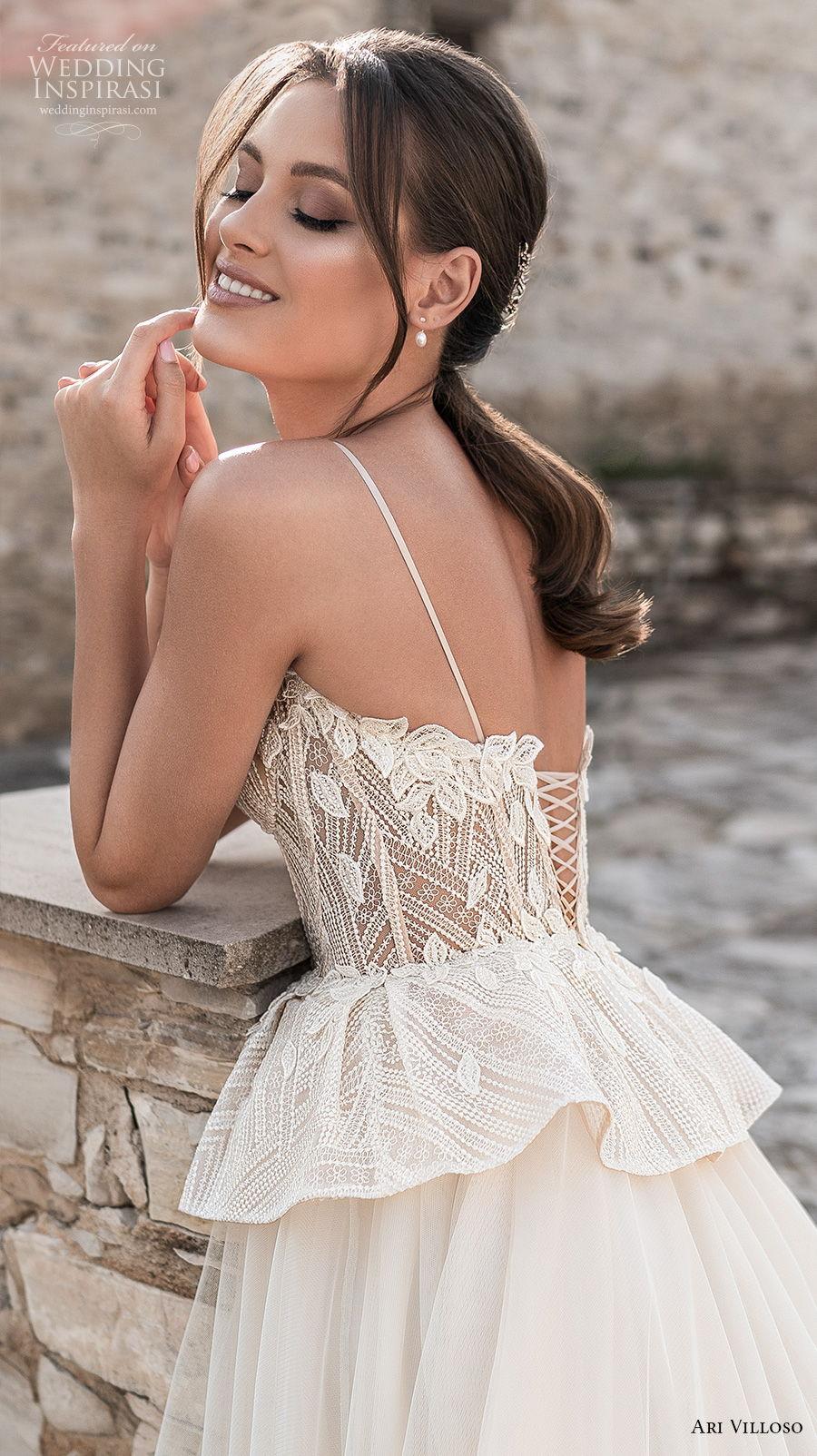ari villoso 2021 bridal spaghetti strap sweetheart neckline heavily embellished bodice bustier romantic champagne peplum a  line wedding dress corset back chapel train (2) zbv