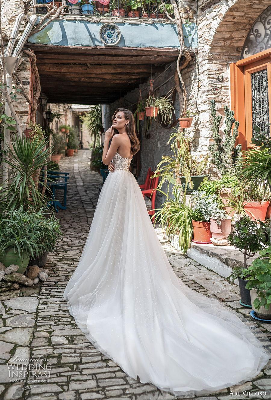 ari villoso 2021 bridal strapless deep sweetheart neckline heavily embellished bodice romantic a  line wedding dress mid back chapel train (1) bv