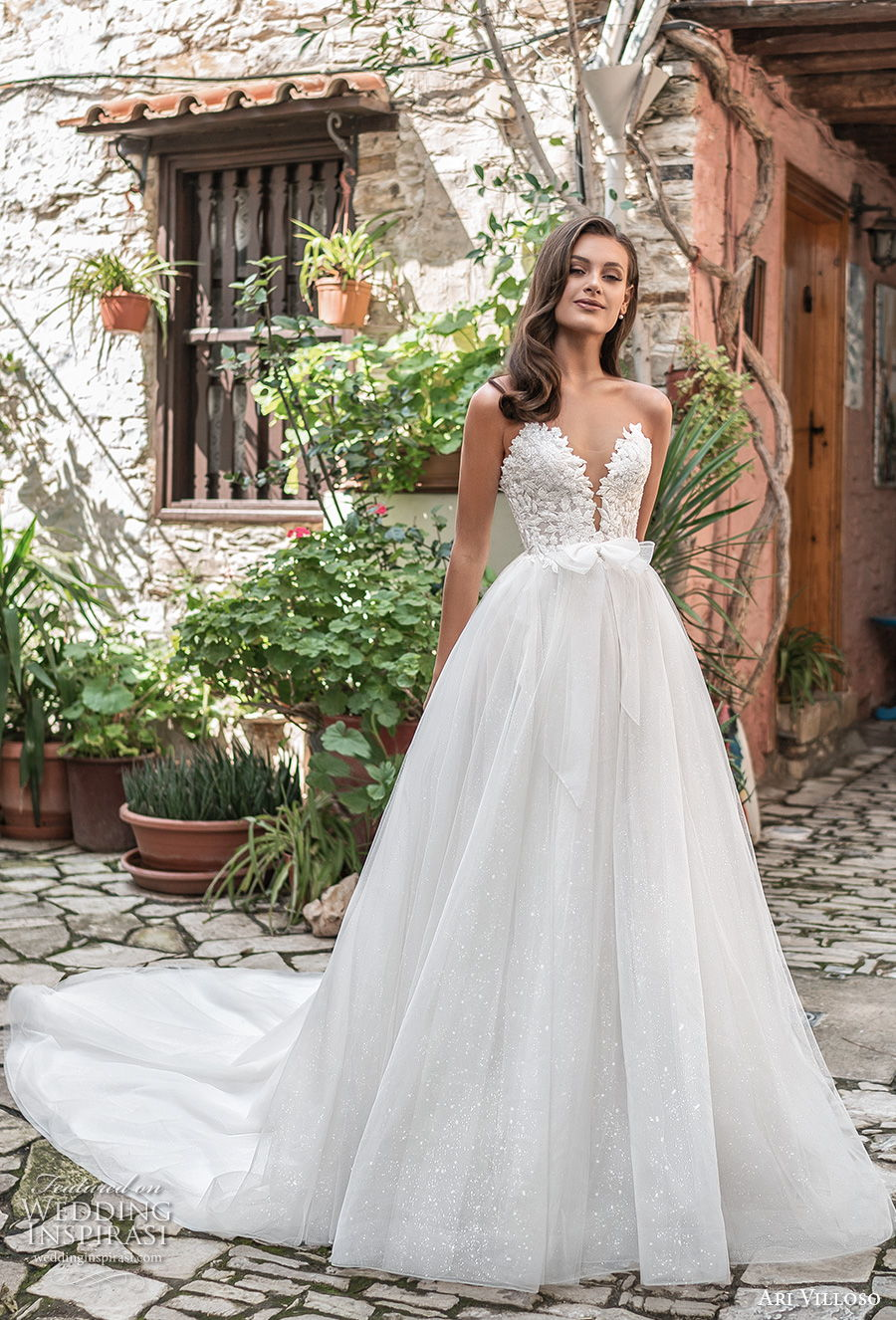 ari villoso 2021 bridal strapless deep sweetheart neckline heavily embellished bodice romantic a  line wedding dress mid back chapel train (1) mv