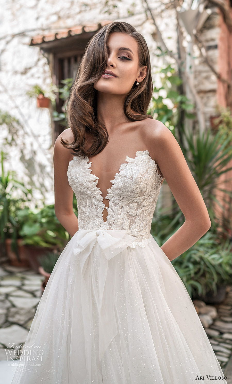 ari villoso 2021 bridal strapless deep sweetheart neckline heavily embellished bodice romantic a  line wedding dress mid back chapel train (1) zv