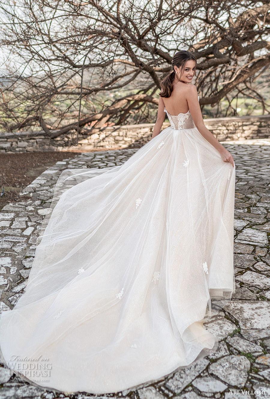 ari villoso 2021 bridal strapless straight across crumb catcher neckline heavily embellished bodice romantic soft a  line wedding dress corset back chapel train (14) bv