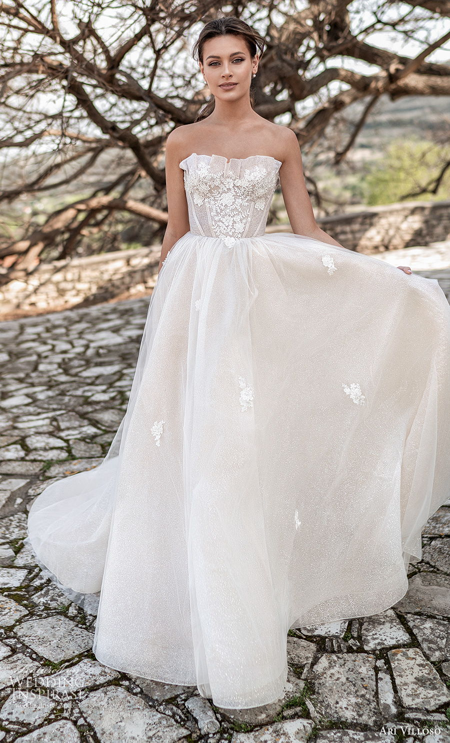 ari villoso 2021 bridal strapless straight across crumb catcher neckline heavily embellished bodice romantic soft a  line wedding dress corset back chapel train (14) mv