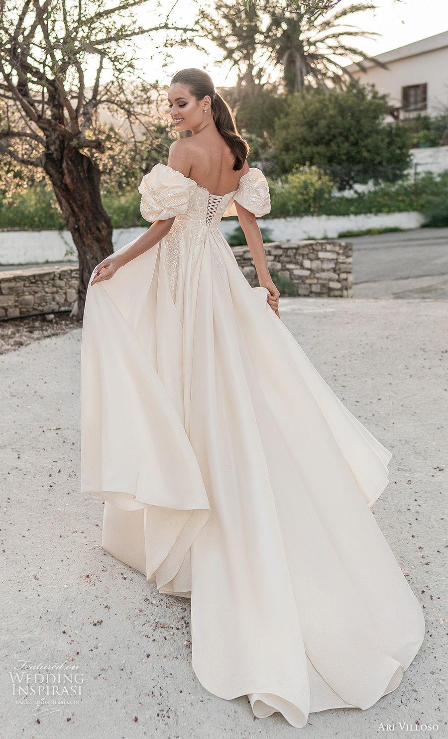 ari villoso 2021 bridal strapless straight across neckline heavily embellished bodice slit skirt romantic a  line wedding dress corset back chapel train (9) bv
