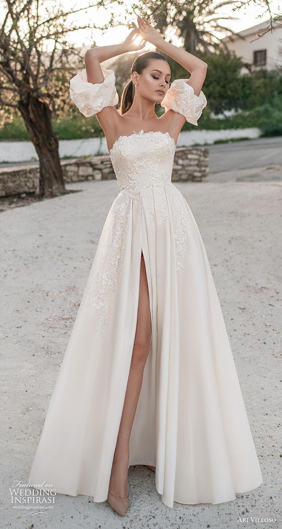ari villoso 2021 bridal strapless straight across neckline heavily embellished bodice slit skirt romantic a  line wedding dress corset back chapel train (9) mv