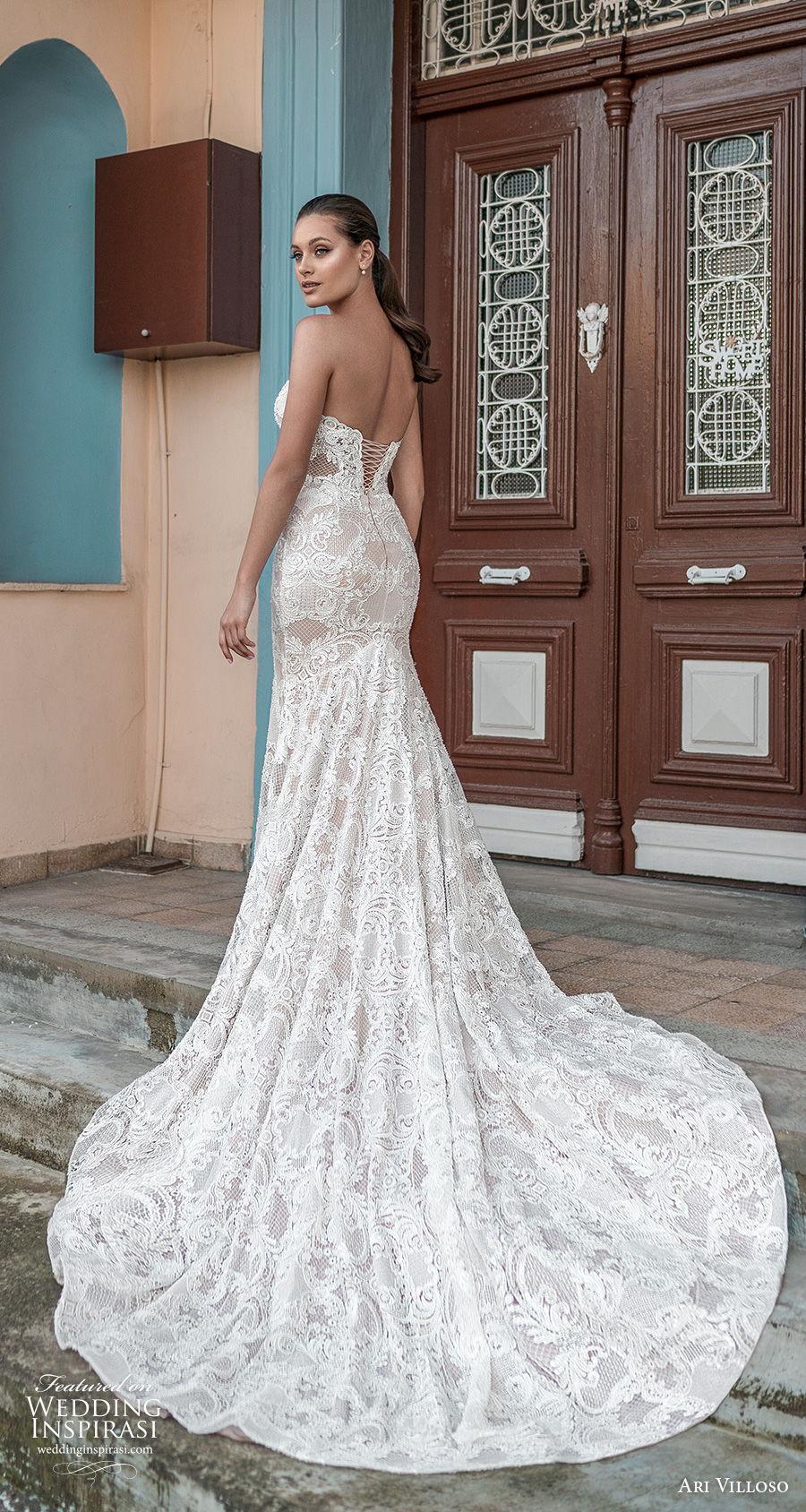 ari villoso 2021 bridal strapless sweetheart neckline full embellishment glamorous elegant fit and flare wedding dress corset back chapel train (10) bv