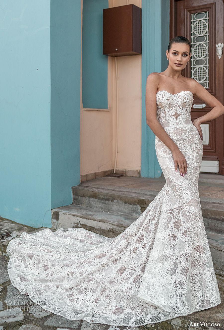 ari villoso 2021 bridal strapless sweetheart neckline full embellishment glamorous elegant fit and flare wedding dress corset back chapel train (10) mv