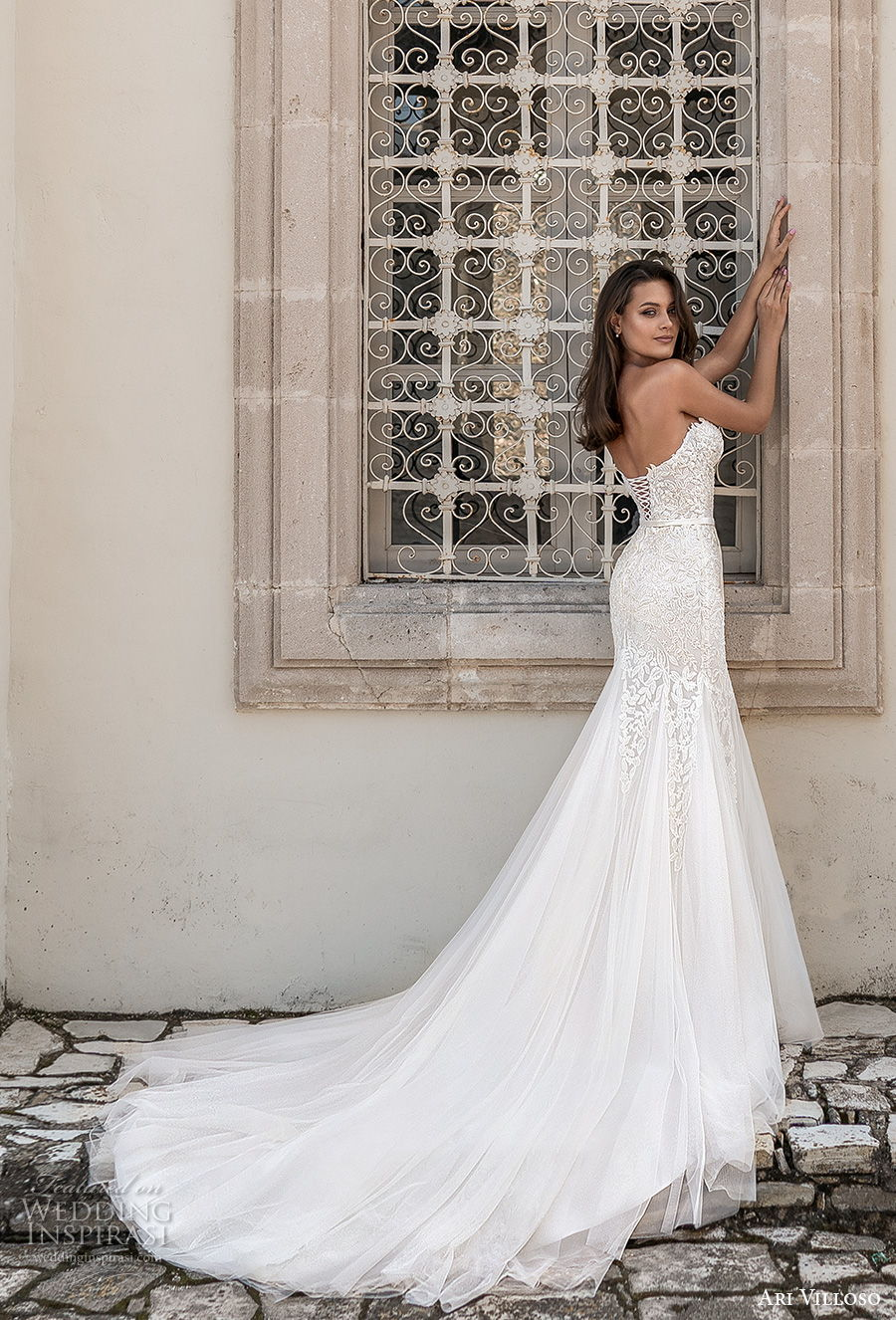 ari villoso 2021 bridal strapless sweetheart neckline heavily embellished bodice romantic mermaid wedding dress corset back chapel train (13) bv
