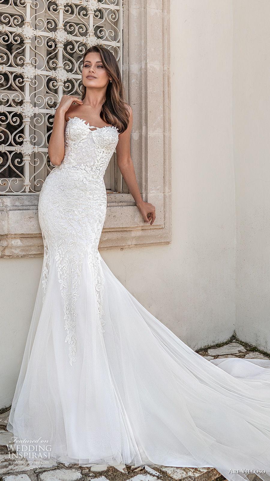 ari villoso 2021 bridal strapless sweetheart neckline heavily embellished bodice romantic mermaid wedding dress corset back chapel train (13) mv