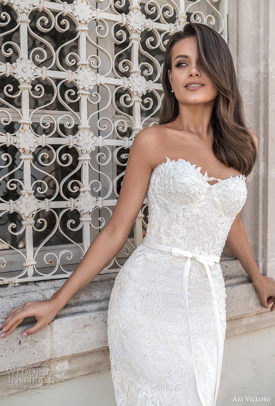 ari villoso 2021 bridal strapless sweetheart neckline heavily embellished bodice romantic mermaid wedding dress corset back chapel train (13) zv