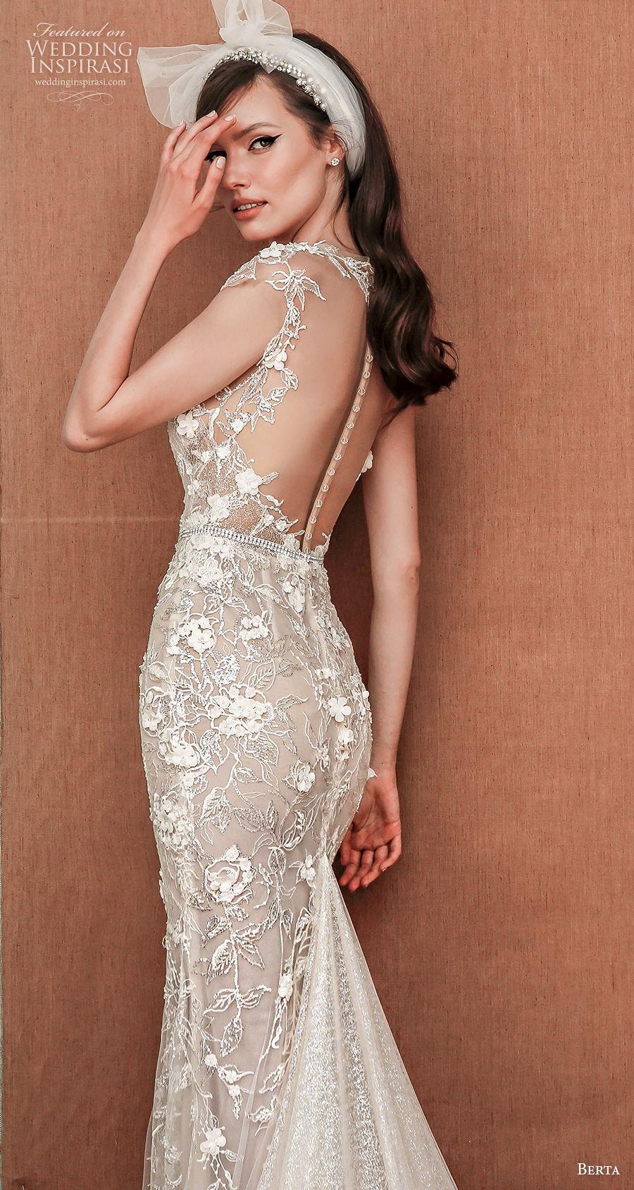 berta spring 2021 privee bridal cap sleeves deep plunging sweetheart neckline full embellishment romantic fit and flare wedding dress sheer button back medium train (5) zbv