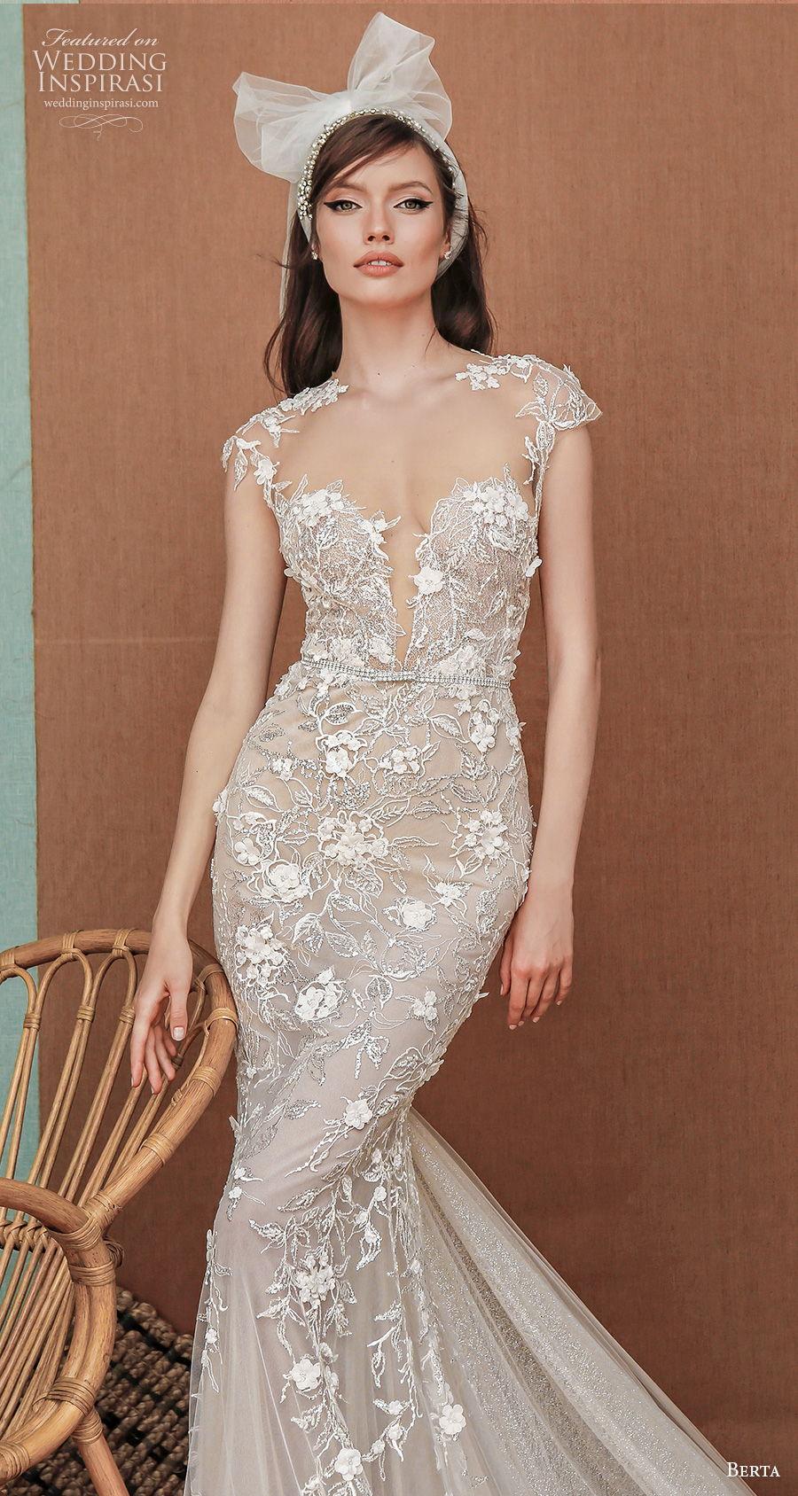 berta spring 2021 privee bridal cap sleeves deep plunging sweetheart neckline full embellishment romantic fit and flare wedding dress sheer button back medium train (5) zv