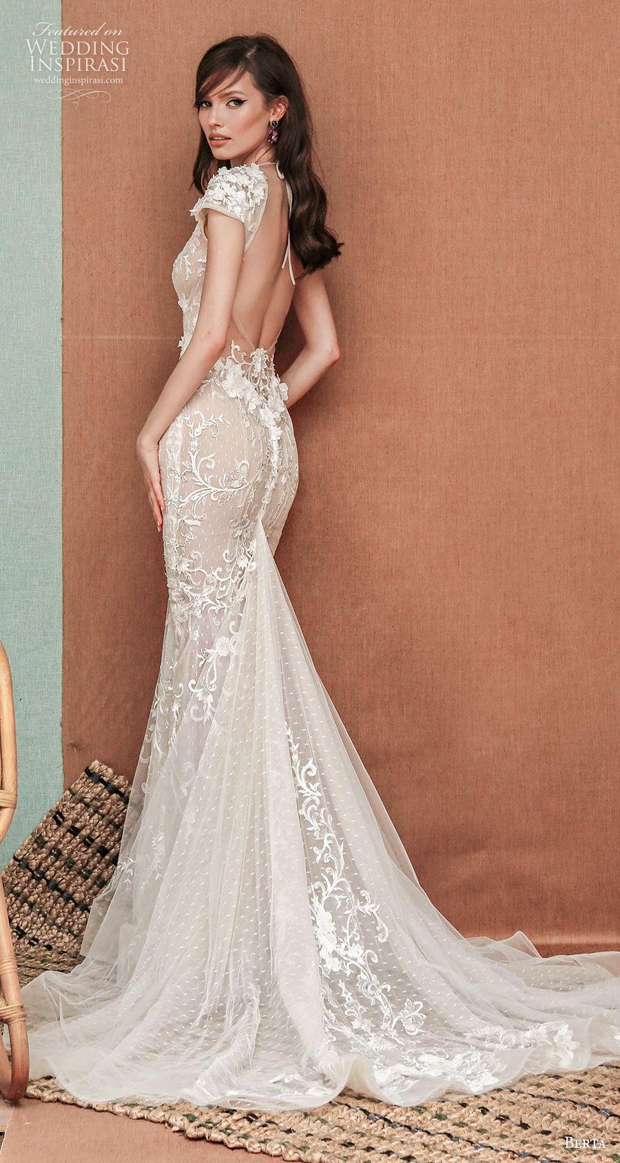 berta spring 2021 privee bridal cap sleeves deep v neck full embellishment sexy romantic fit and flare sheath wedding dress low back medium train (3) bv