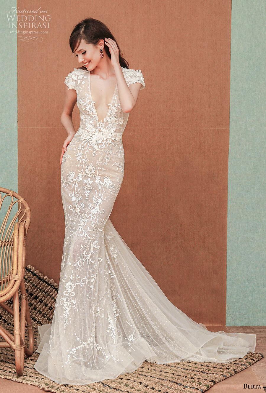 berta spring 2021 privee bridal cap sleeves deep v neck full embellishment sexy romantic fit and flare sheath wedding dress low back medium train (3) mv