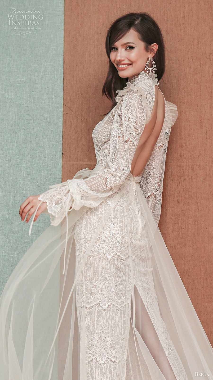 berta spring 2021 privee bridal long bouffant sleeves high neck vintage bohemian sheath wedding dress a  line overskirt low back chapel train (7) bv