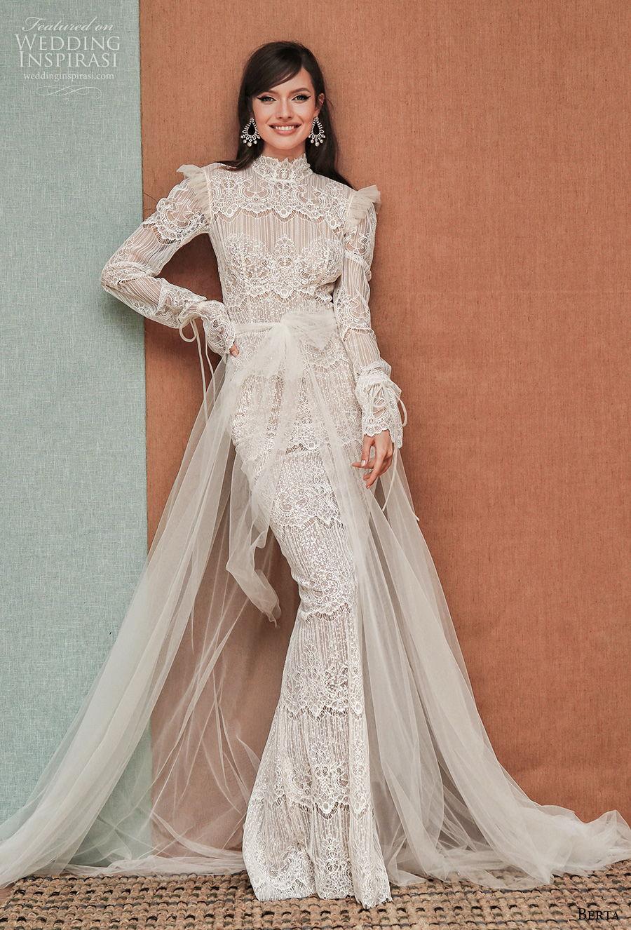 berta spring 2021 privee bridal long bouffant sleeves high neck vintage bohemian sheath wedding dress a  line overskirt low back chapel train (7) mv