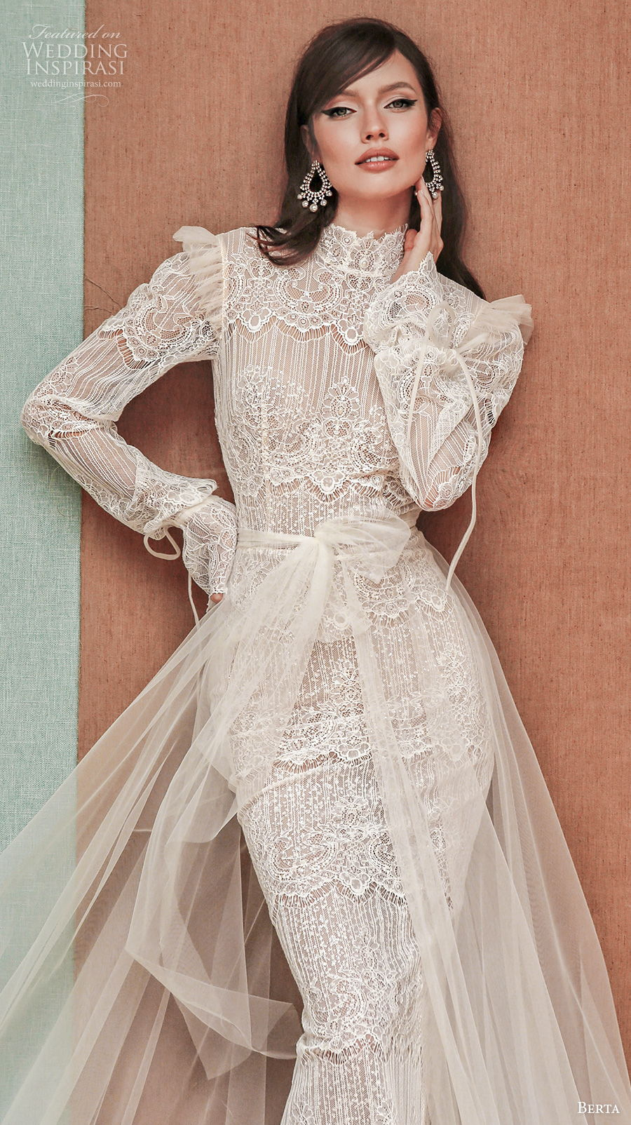 berta spring 2021 privee bridal long bouffant sleeves high neck vintage bohemian sheath wedding dress a  line overskirt low back chapel train (7) zv