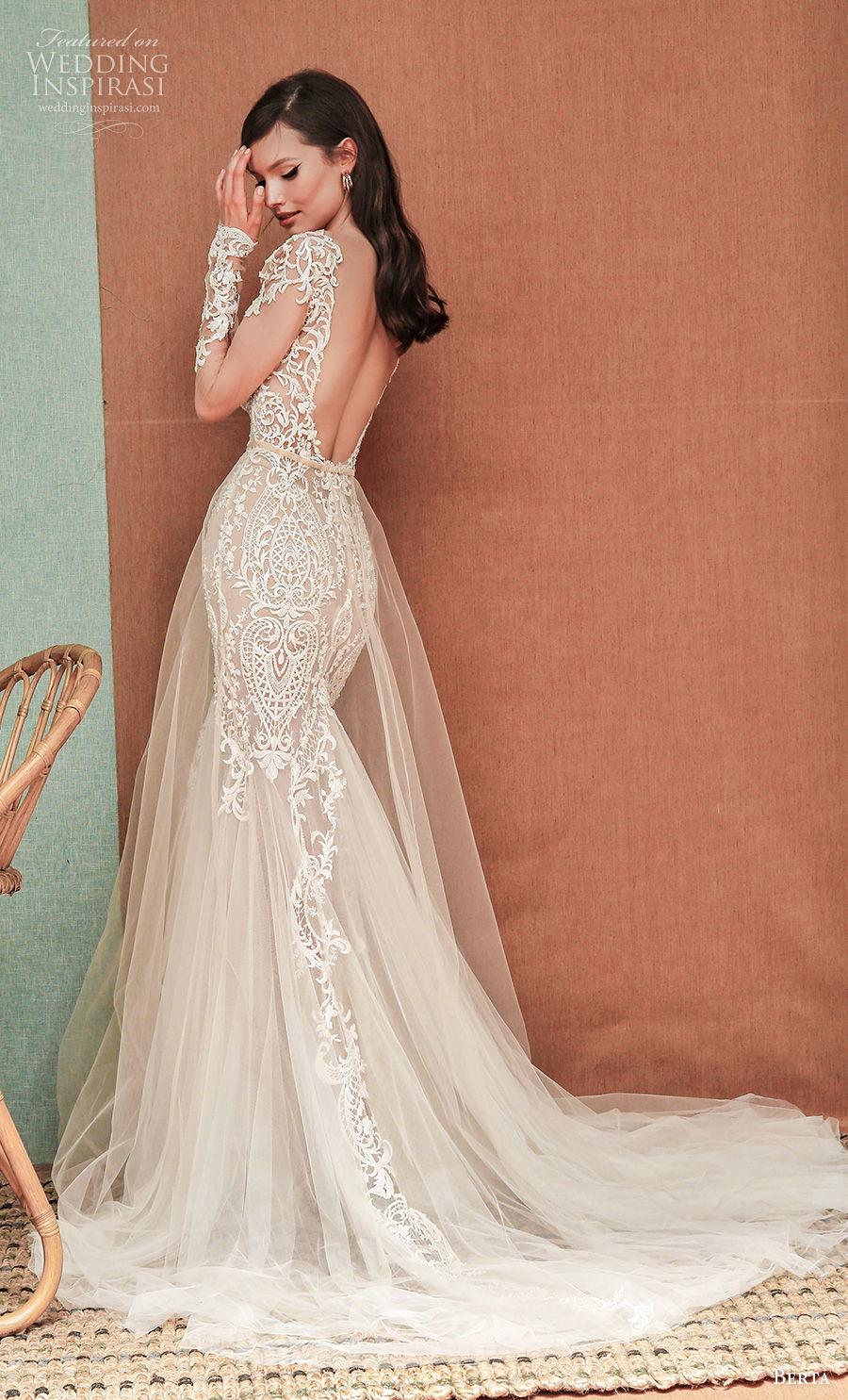 berta spring 2021 privee bridal long sheer sleeves bateau neck heavily embellished bodice glamorous elegant fit and flare wedding dress low back chapel train (6) bv