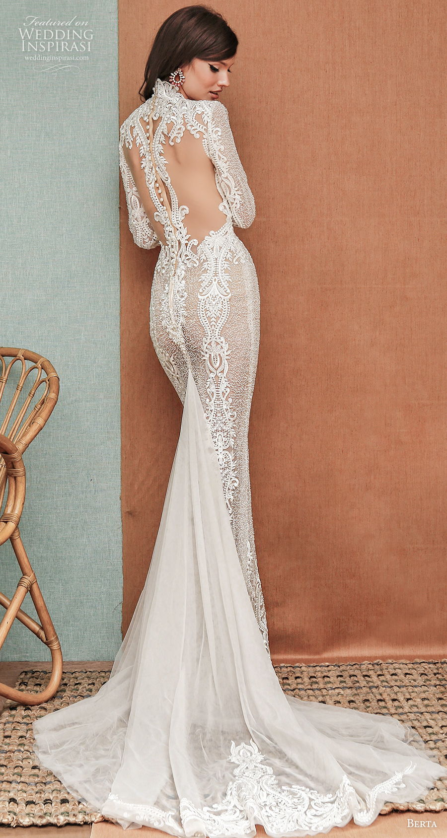 berta spring 2021 privee bridal long sleeves deep v neck full embellishment sexy elegant fit and flare sheath wedding dress sheer rasor back short train (2) bv