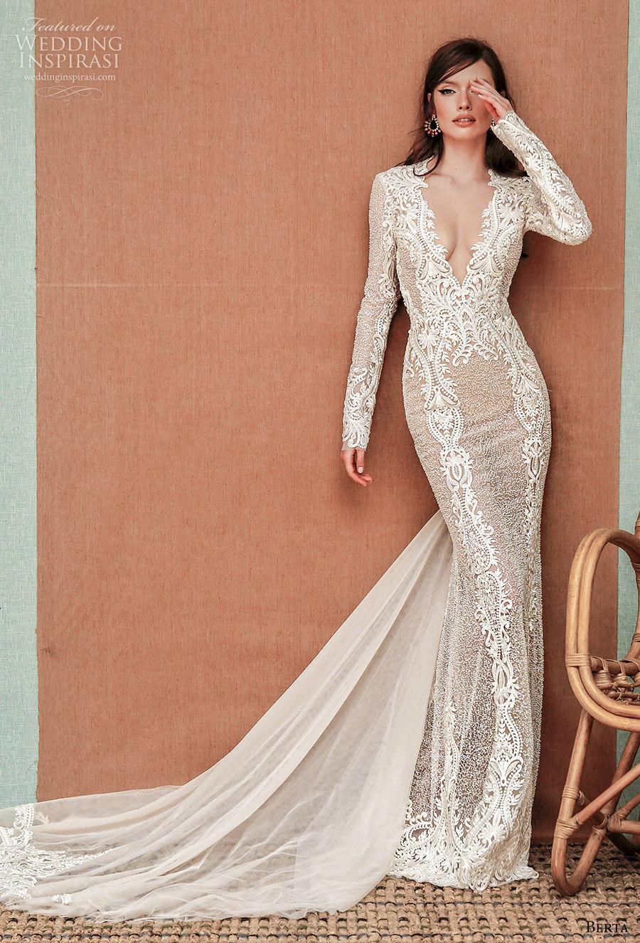 berta spring 2021 privee bridal long sleeves deep v neck full embellishment sexy elegant fit and flare sheath wedding dress sheer rasor back short train (2) mv