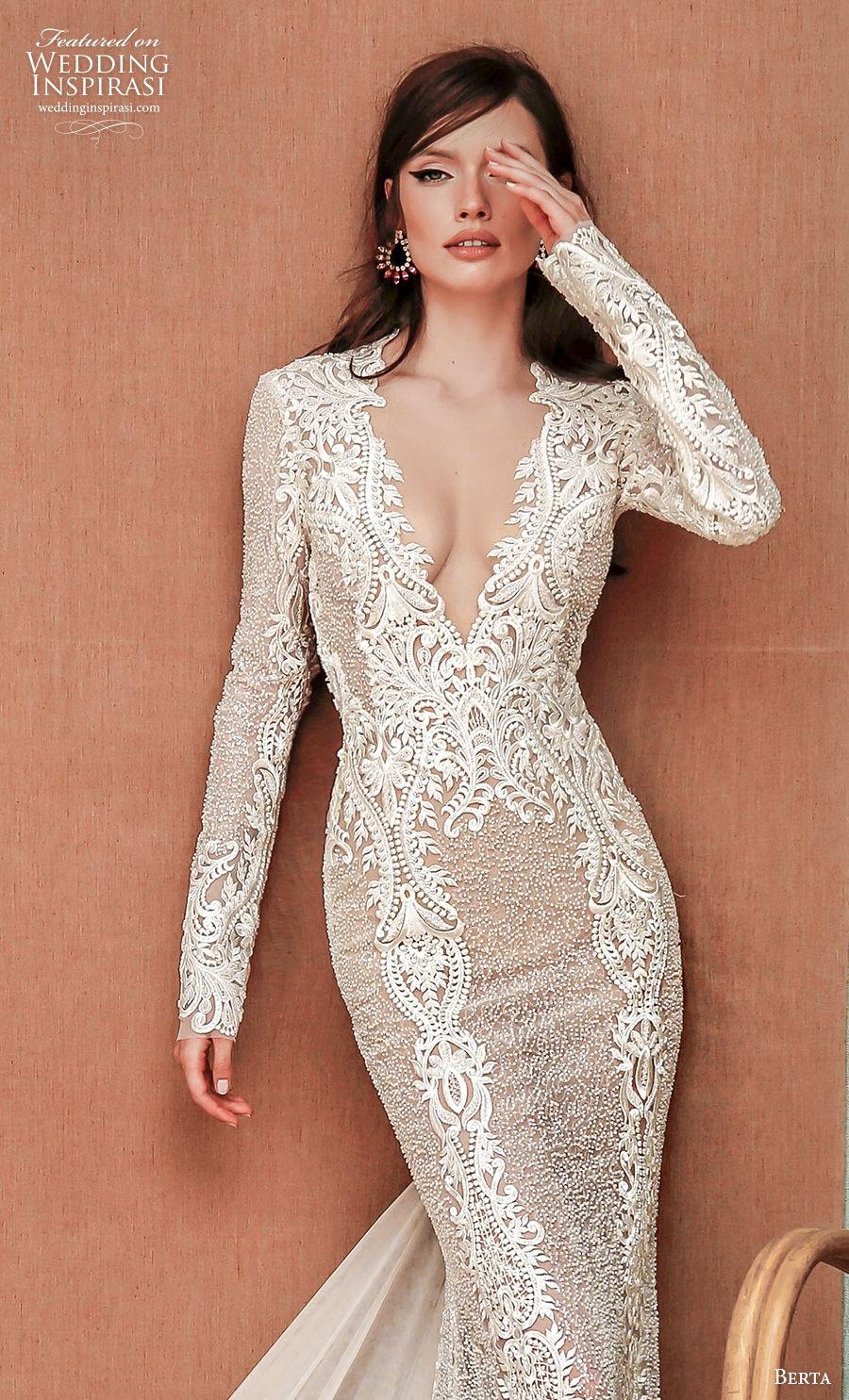 berta spring 2021 privee bridal long sleeves deep v neck full embellishment sexy elegant fit and flare sheath wedding dress sheer rasor back short train (2) zv