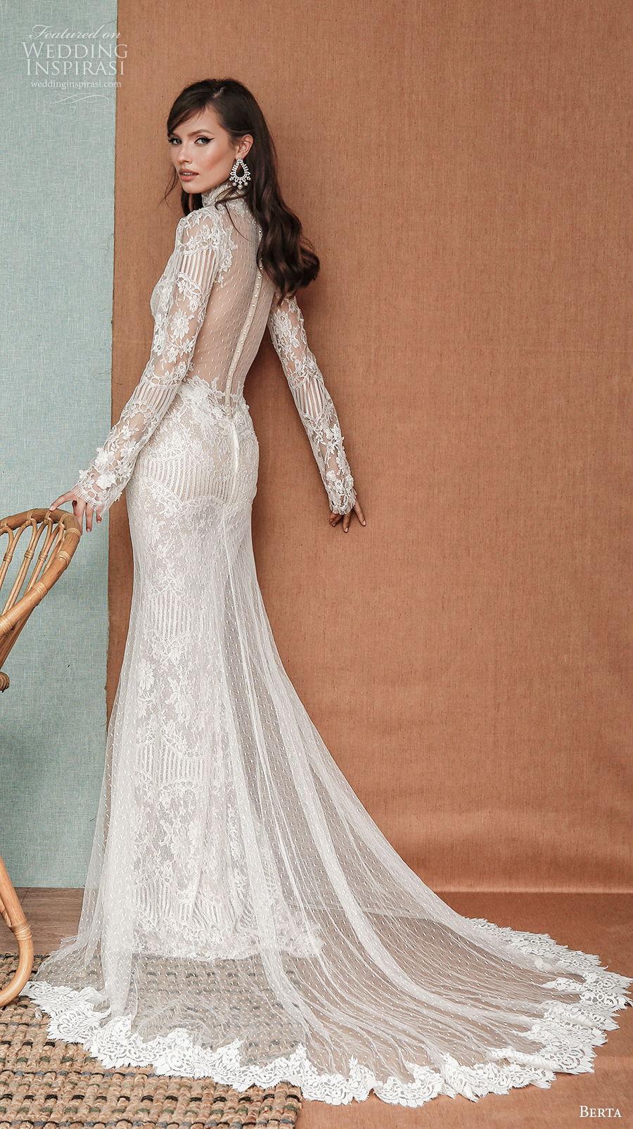 berta spring 2021 privee bridal long sleeves high neck full embellishment elegant sheath wedding dress a  line overskirt sheer button back chapel train (8) bv