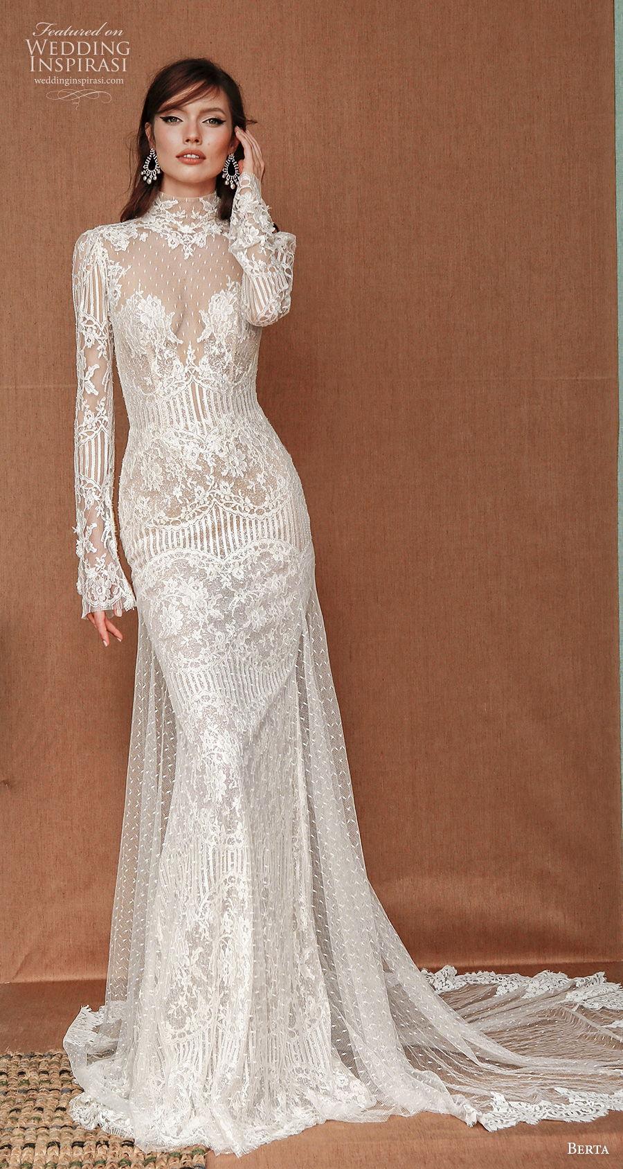 berta spring 2021 privee bridal long sleeves high neck full embellishment elegant sheath wedding dress a  line overskirt sheer button back chapel train (8) mv
