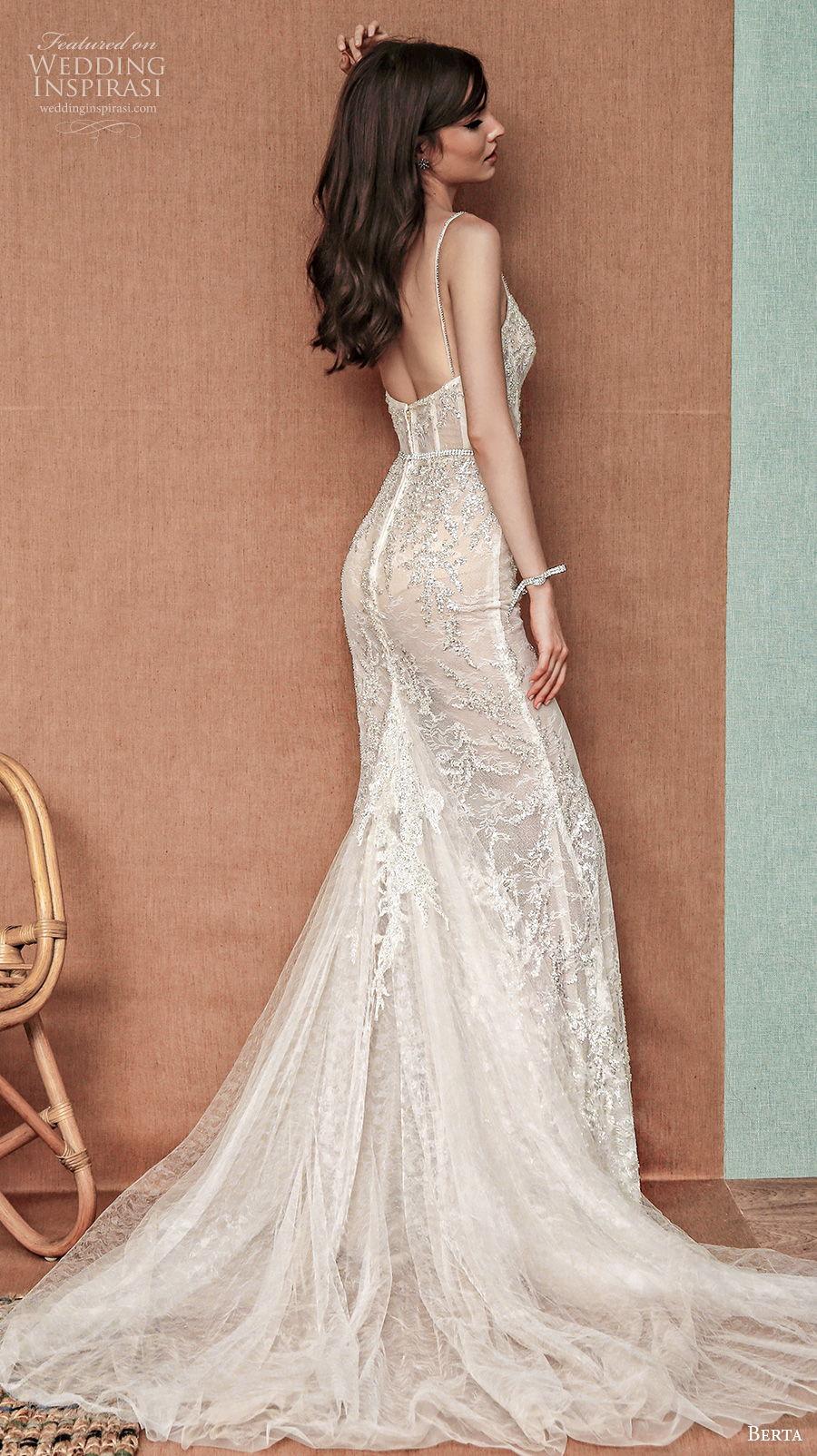 berta spring 2021 privee bridal sleeveless spaghetti strap diamond neck full embellishment glamorous sexy fit and flare wedding dress backless chapel train (9) bv