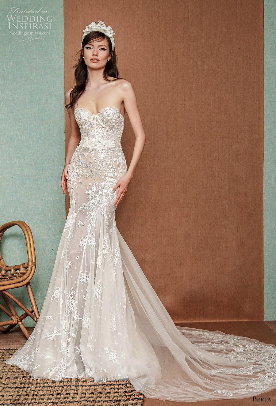 berta spring 2021 privee bridal strapless sweetheart neckline full embellishment bustier glamorous fit and flare wedding dress mid back chapel train (10) mv