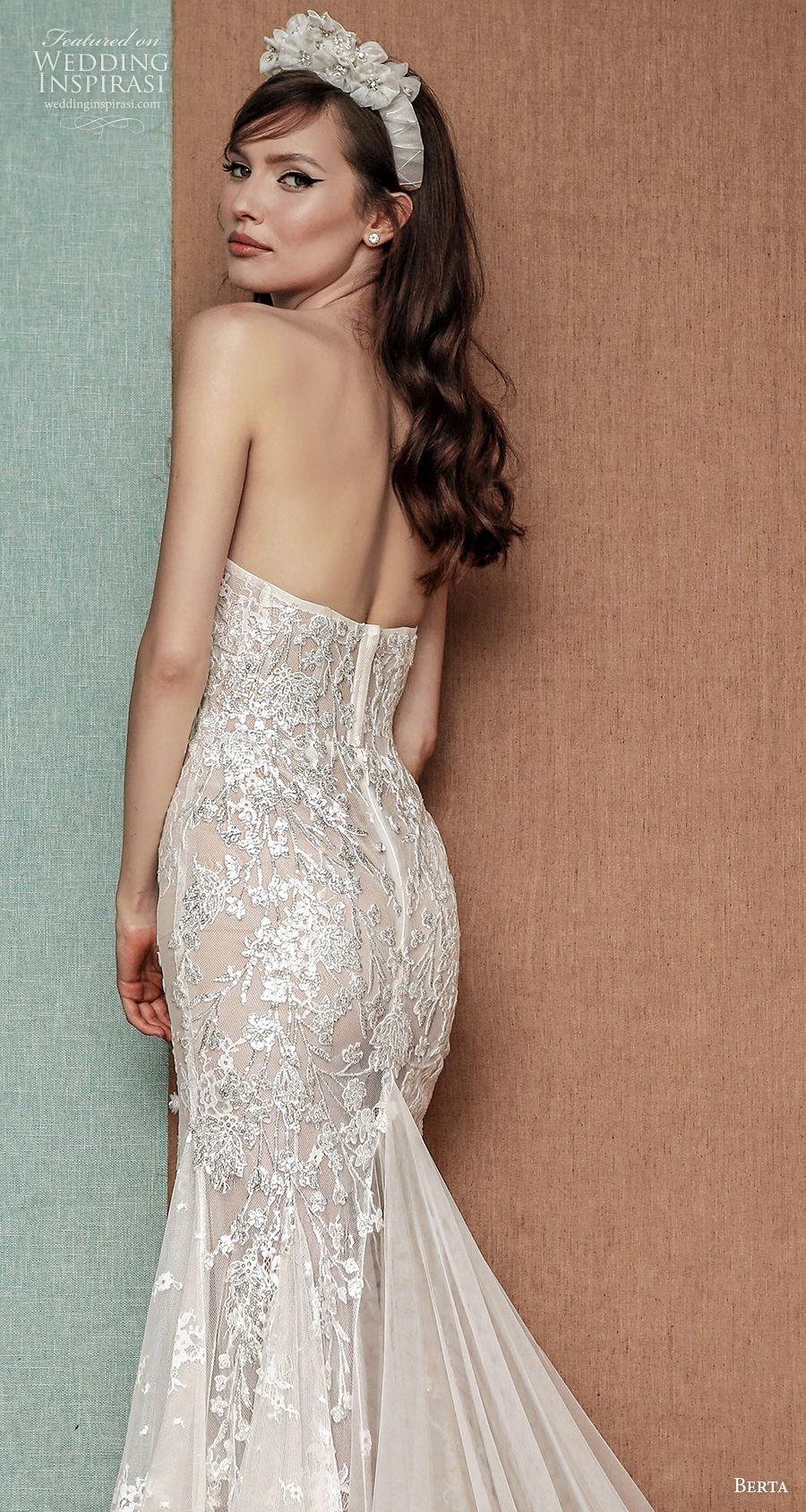 berta spring 2021 privee bridal strapless sweetheart neckline full embellishment bustier glamorous fit and flare wedding dress mid back chapel train (10) zbv
