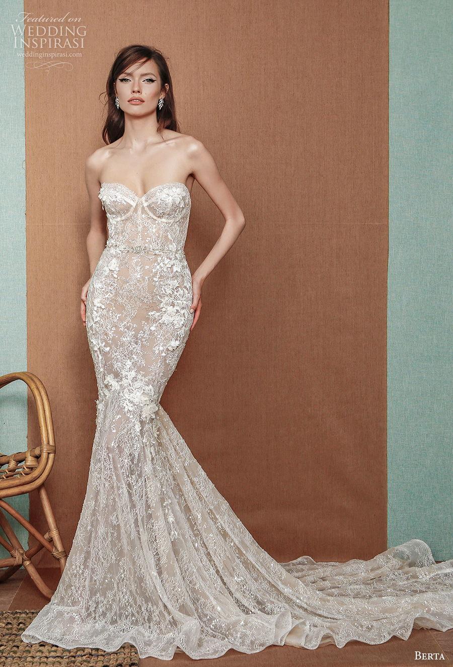 berta spring 2021 privee bridal strapless sweetheart neckline full embellishment bustier glamorous mermaid wedding dress mid back chapel train (11) mv