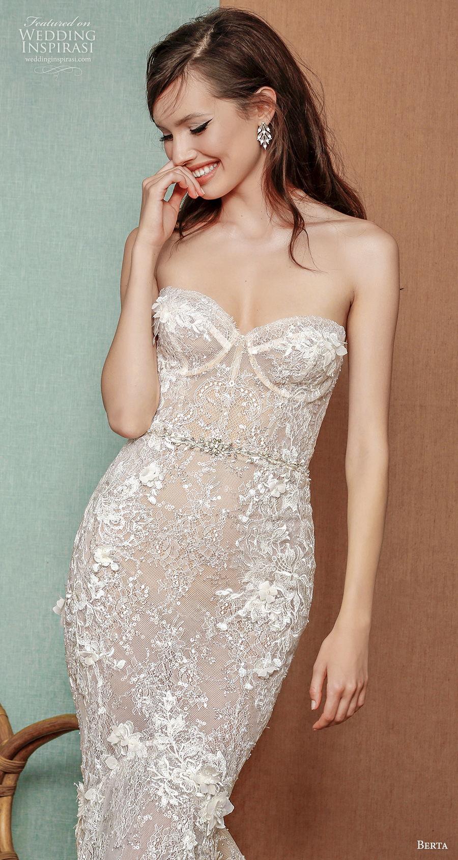 berta spring 2021 privee bridal strapless sweetheart neckline full embellishment bustier glamorous mermaid wedding dress mid back chapel train (11) zv