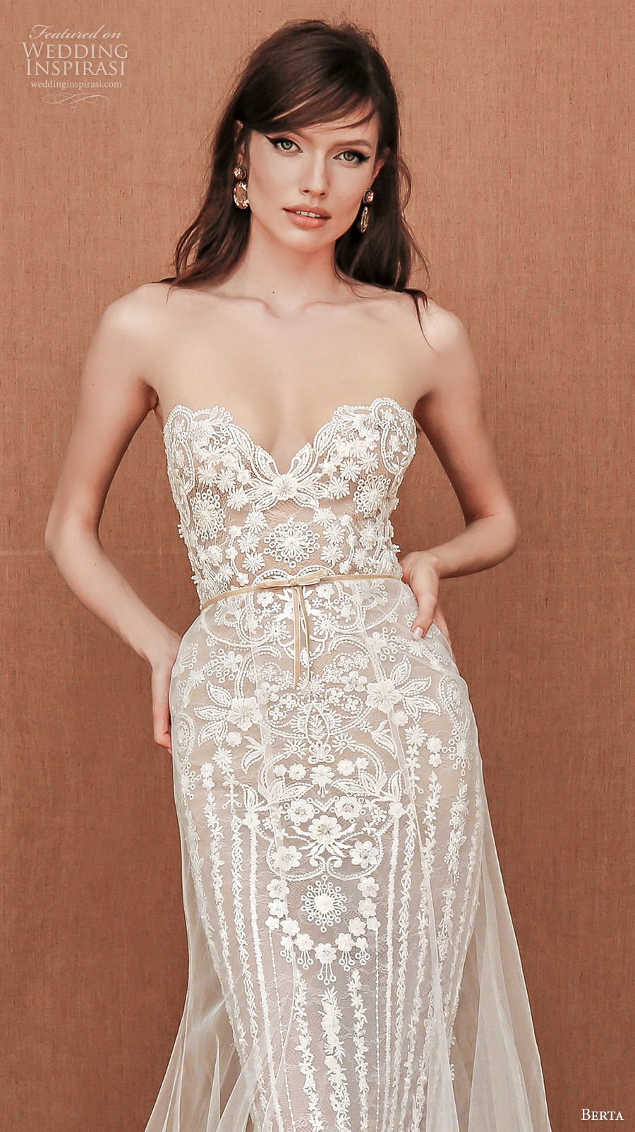 berta spring 2021 privee bridal strapless sweetheart neckline full embellishment romantic fit and flare sheath wedding dress backless chapel train (4) zv